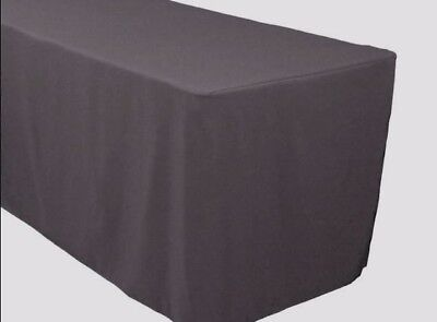 4 Ft. Fitted Polyester Table Cover Trade Show Banquet Tablecloth Charcoal Grey