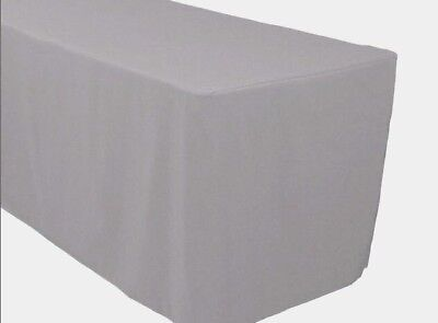6 Ft. Fitted Polyester Tablecloth Trade Show Booth Banquet Table Cover Silver