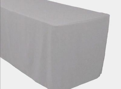 8 Ft. Fitted Polyester Tablecloth Trade Show Booth Banquet Table Cover Silver