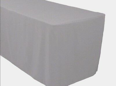 4 Ft. Fitted Polyester Tablecloth Trade Show Booth Banquet Table Cover Silver