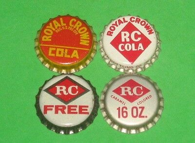 (4) Different Unused NOS 1940/50/60s Royal Crown Cola Cork Soda Bottle Caps