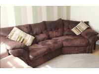 LARGE BROWN SUADE CORNER SOFA