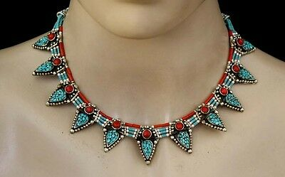 - Sterling Silver Necklace Ethnic Handmade Tibetan Turquoise coral Tribal CM8