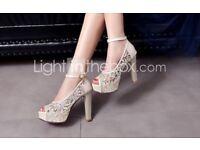 Beige platform high heels - wedding shoes