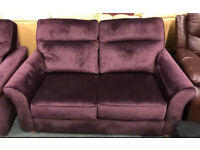 Purple velvet fabric 3 seater and Armchair