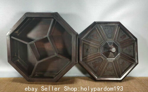 """12"""" Collect Old Chinese Huanghuali Wood Dynasty Storage Food Fruit Box"""