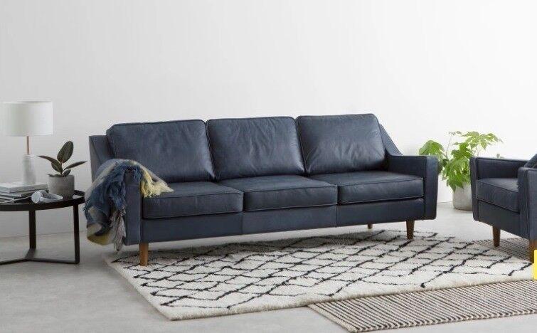 New Ex Display Made Com Dallas 3 Seater Sofa Midnight Blue Premium Leather London