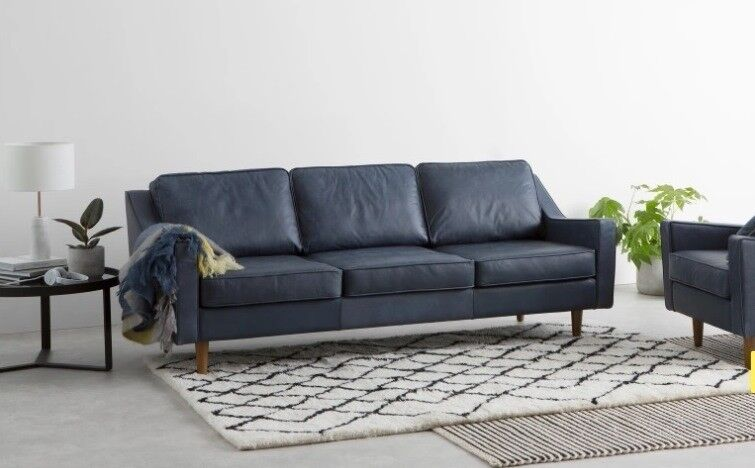 Good New Ex Display MADE. Com DALLAS 3 Seater Sofa Midnight Blue Premium LEATHER  London