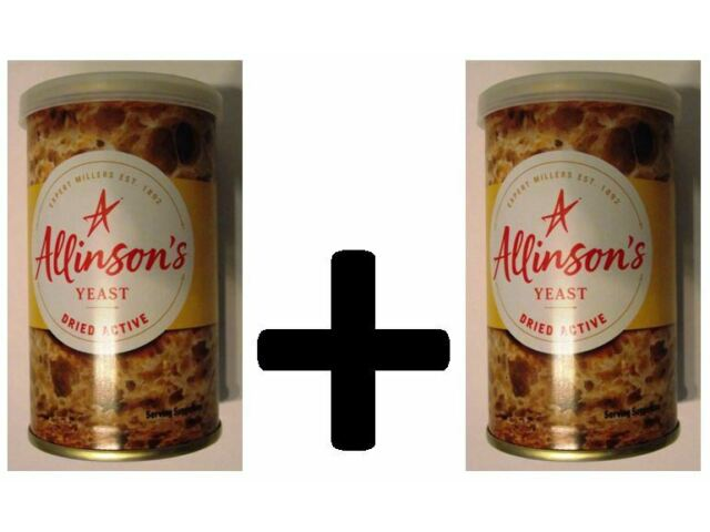 2 x Allison's dried active yeast 125 gr each - pizza bread free delivery