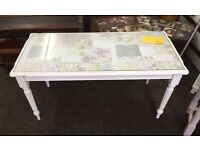 Shabby Chic glass topped coffee table in Antique White chalk paint