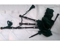 FULLY REFURBISHED Ebony Wood Great Highland Bagpipes from Kintail Bagpipe Makers. Irish Green decor.