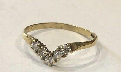 Vintage Hallmarked 9ct Gold V Shaped Cz Ring Size M Scrap Wear