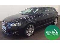 £144.45 PER MONTH BLACK 2009 AUDI A3 2.0 TDI S LINE SPORTBACK 5 DOOR MANUAL