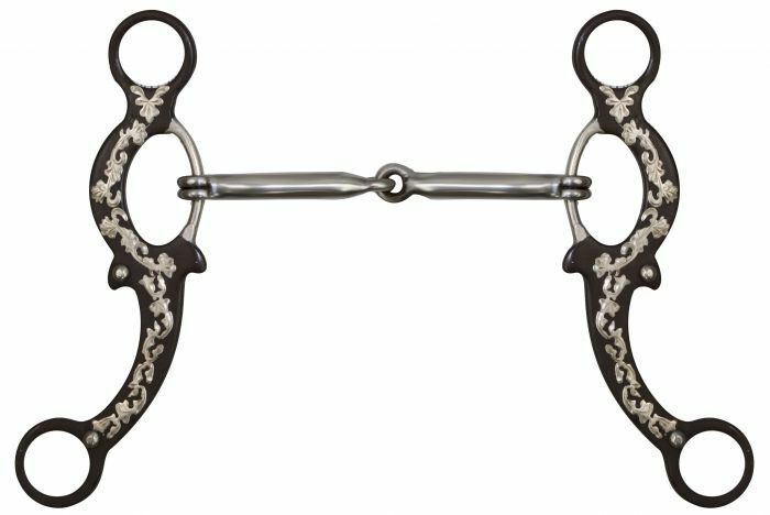 """Showman 5/"""" Brown Steel Snaffle Bit w// Engraved Silver Overlays! NEW HORSE TACK!"""
