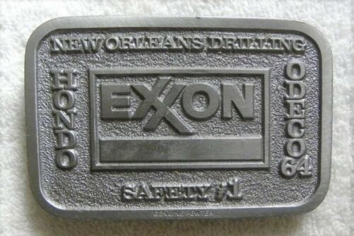 Vintage Exxon, New Orleans Oil Drilling, Hondo, Odeco 64 Safety #1 BELT BUCKLE