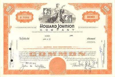 "Howard Johnson Company > ""HoJo"" Johnson's hotels restaurant stock certificate"