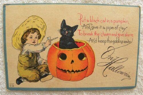 "1913 ""Black Cat in Pumpkin,Keep Goblins Away"",Little Boy Clay Pipe, Halloween pc"