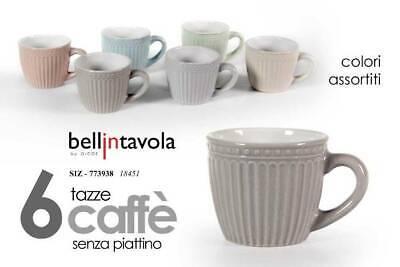 """GICOS - conf. 6 TAZZINE da Caffè SENZA PIATTINO """"BELLINTAVOLA"""" colori assortiti"""