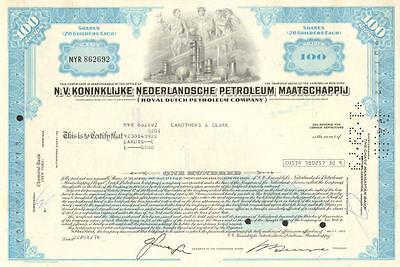 Royal Dutch Oil > Netherlands N.V. petroleum stock certificate share
