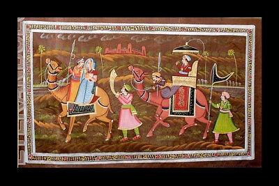 Hanging Wall Silk Painting Art Mughal Dromedary India 71x49cm B6 1179