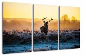 "Deer picture, 3-piece canvas (Total Size: 47.2"" x 31.5""), high-quality art print as a mural."
