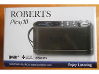ROBERTS PLAY 10 DAB RADIO - BLACK - 6MTHS OLD - AS NEW