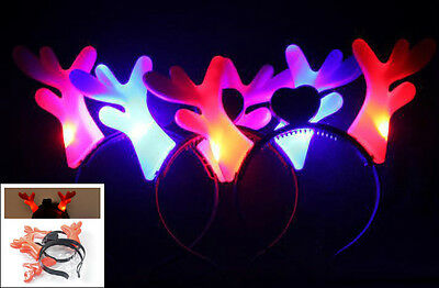 8 pcs Led flashing Christmas reindeer antler headbands/moose antlers headband