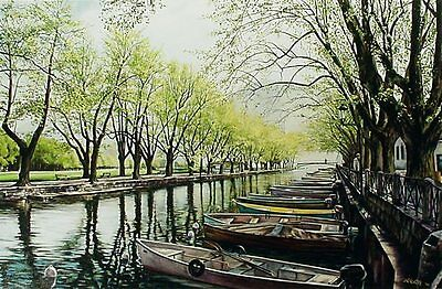 Alan White Bridge of Love River Hand Signed Giclee Boats And Tree Art Artwork