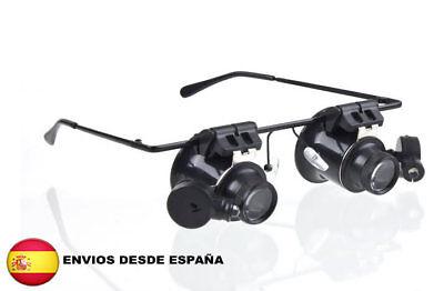 Gafas Lupa 20x con Luz led Lente Aumento para Relojero Joyero Numismatica