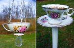 Vintage Teacups and Saucers into Birdfeeders