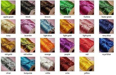 - 2MM Satin Rattail Cord Trim Shamballa Macrame Beading Nylon kumihimo String