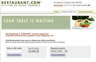 Restaurant Com  10 E Gift Certificate