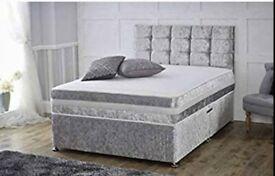 CRUSHED VELVET DIVAN BED WITH MATTRESS AND DIAMANTÉ HEADBOARD