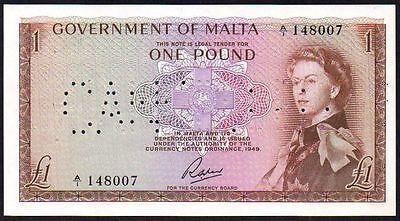 1963 MALTA 1 POUND BANKNOTE * A/1 020512 * EF * P-26a *