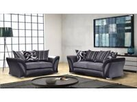 NEW LARGE SHANNON SOFA CORNER 5 SEATER GREY BLACK FABRIC & LEATHER COUCH