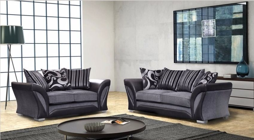 65% DISCOUNTED - BRAND NEW SHANNON 3+2 SEATER CHENILLE FABRIC SOFA SUITE ALSO IN CORNER GREY OR MINK
