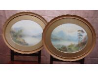 Pair of Original Oval Watercolours by EMIL AXEL KRAUSE