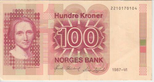 Norway Banknote P43c 100 Kroner 1987,  VF-EF