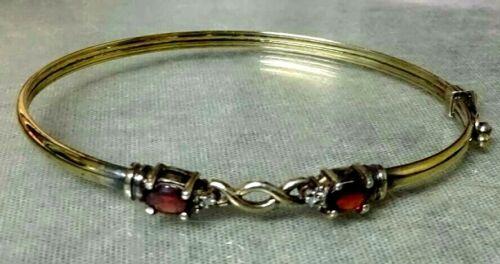 Vintage Vermeil Gold Over 925 Sterling Silver Garnet Gemstone Bangle Bracelet