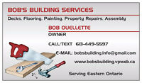 BOB'S BUILDING AND HANDYMAN SERVICES -  HAWKESBURY & AREA