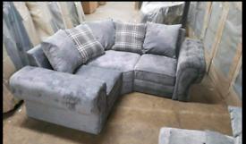 Chesterfild style small corner sofa grey