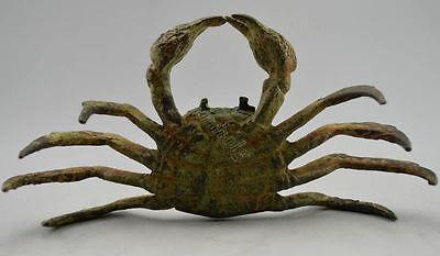 Collectible Old Bronze Statue Handcarved Money Crab Money wealth ~Wish U Wealth