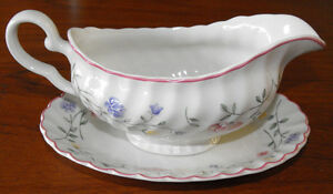 PORCELAIN GRAVY BOAT AND UNDERPLATE by JOHNSON BROTHERS