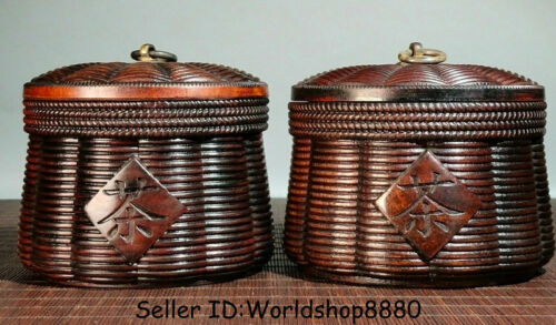 "5.6"" Old China Huanghuali Wood Carved bamboo weaving Caddy Pot Jar Crock Pair"