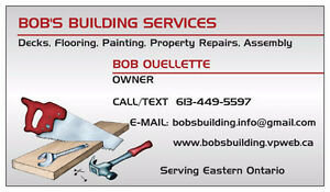 BOB'S BUILDING AND HANDYMAN SERVICES – OTTAWA & AREA Cornwall Ontario image 1