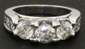 14k white gold lady's 2.62ct diamond engagement ring size 5.