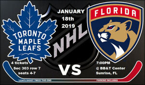 4 TIX Leafs vs Panthers Friday Jan 18 2019 in Florida!