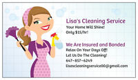 Lisa's Cleaning Service ~ Only $15/hr ~ Insured & Bonded