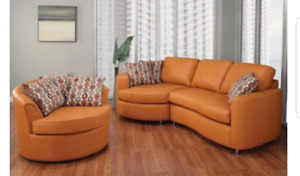 2 pcs modern sectional and matching chair