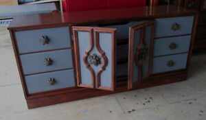 Elegant Oak Wood Grey and Brown Long Dresser or sideboard.